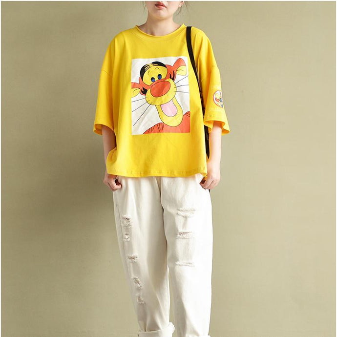2017 cartoon print yellow cotton tops stylish cute loose pullover bracelet sleeved t shirt