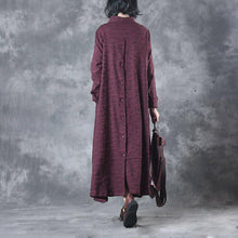 Load image into Gallery viewer, 2017 casual  burgundy women trench coat oversize mid long coat