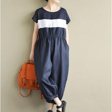 Laden Sie das Bild in den Galerie-Viewer, 2017 casual element design linen pants short sleeve oversize jumpsuit pants