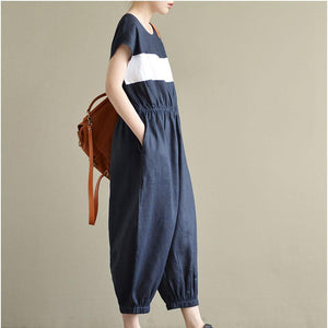 2017 casual element design linen pants short sleeve oversize jumpsuit pants