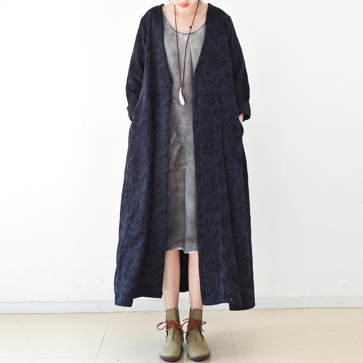 2017 fall blue jacquard linen cardigans plus size casual trench coat