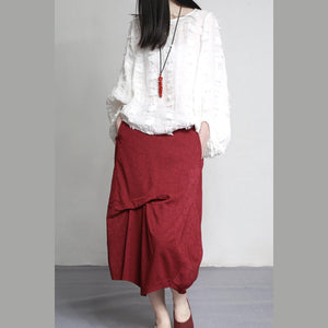 2017 fall new red wrinkled cotton skirts asymmetric brief jacquard skirts