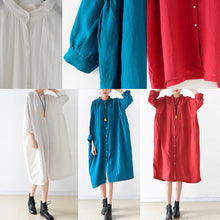Load image into Gallery viewer, 2017 fall white solid brief linen shirt dresses oversize long sleeve maxi dress