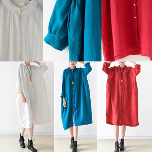 2017 fall white solid brief linen shirt dresses oversize long sleeve maxi dress