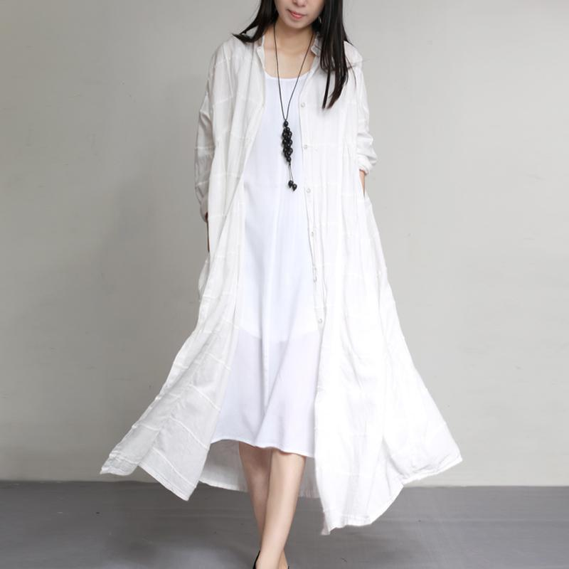 2017 fashion white linen coats loose patchwork long trench coats