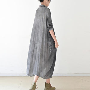 2017 gray caual cotton gowns lace patchwork dress wrinkled cotton with lace patchwork long baggy shirt