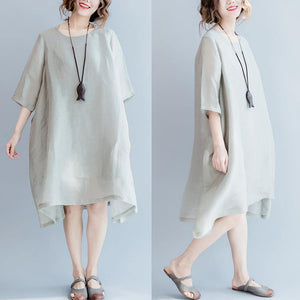 2017 gray flowy summer dresses casual oversize baggy thin silk sundresses
