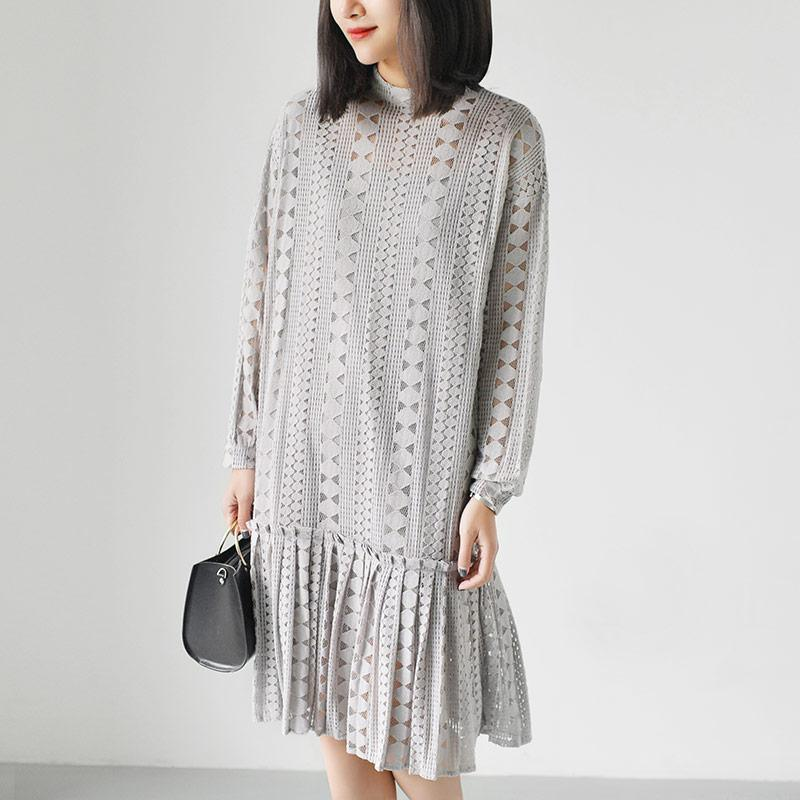 2017 gray lace dresses loose casual shift dress mermaid hem