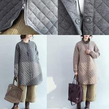 Load image into Gallery viewer, 2017 khaki down overcoat casual stand collar down overcoat Fine thin cardigans