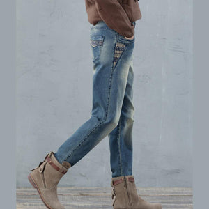 2017 loose women jeans causal style loose denim pants plus size