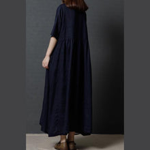 Load image into Gallery viewer, 2017 navy casual linen dresses plus size high waist sundress short sleeve maxi dress