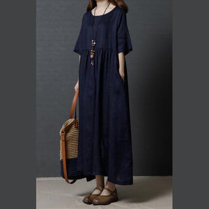 2017 navy casual linen dresses plus size high waist sundress short sleeve maxi dress
