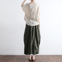 Load image into Gallery viewer, 2017 new blackish green patchwork linen skirts vintage oversize maxi skirts