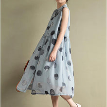 Load image into Gallery viewer, 2017 new blue dotted print chiffon sundress plus size casual shirts dresses sleeveless maxi dress