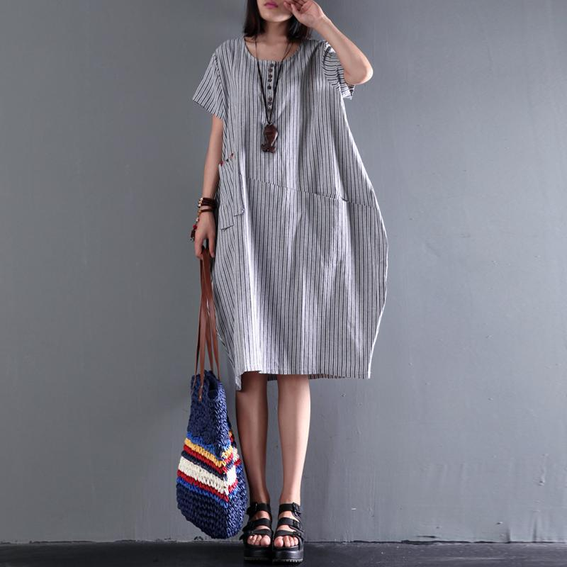 2017 new gray linen dress plus size sundress cotton summer dresses