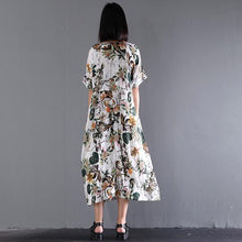 Load image into Gallery viewer, 2017 new summer maxi dress print linen dresses plus size sundress