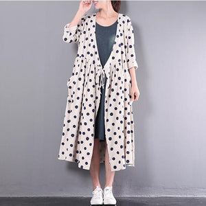 2017 new white stylish linen dresses plus size outwear long sleeve cardigans maxi dress