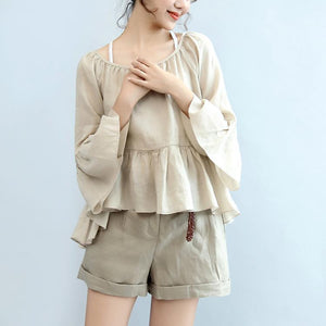 2017 nude stylish linen shorts elastic waist casual shorts