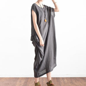 2017 original gray linen dresses plus size sundress asymmetric sleeveless maxi dress