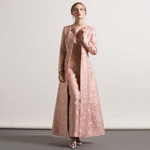 2017 pink jacquard cotton trench coats fashion casual o neck long coat