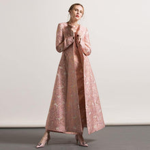 Load image into Gallery viewer, 2017 pink jacquard cotton trench coats fashion casual o neck long coat