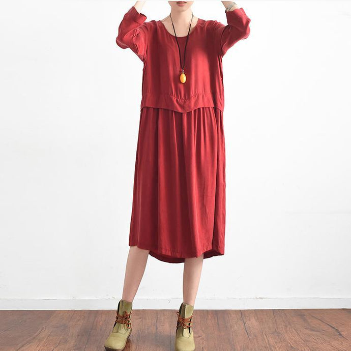 2017 red casual silk sundress oversize large hem summer dress long sleeve maxi dress