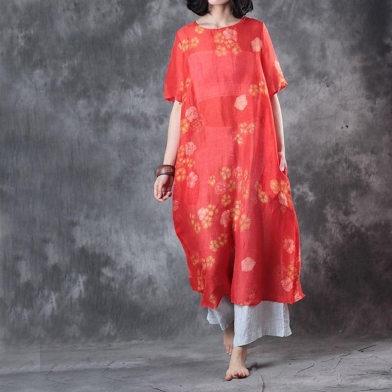 2017 red floral silk linen dresses oversize casual maxi dress short sleeve sundress