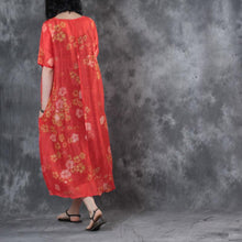 Load image into Gallery viewer, 2017 red floral silk linen dresses oversize casual maxi dress short sleeve sundress