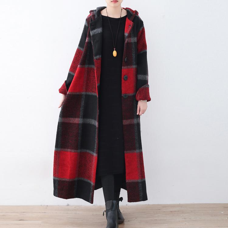 2017 red plaid wool coat plussize Winter coat women hooded maxi coat