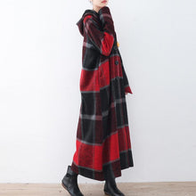 Load image into Gallery viewer, 2017 red plaid wool coat plussize Winter coat women hooded maxi coat