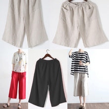 Load image into Gallery viewer, 2017 red stylish wide leg pants plus size elastic waist crop pants