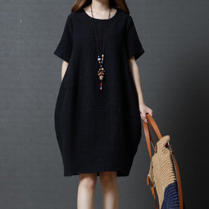 2017 solid black casual linen sundress baggy loose mid dresses o neck women dress