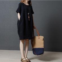 Load image into Gallery viewer, 2017 solid black casual linen sundress baggy loose mid dresses o neck women dress
