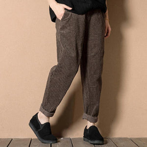 2017 spring Corduroy pants crop trousers in chocolate