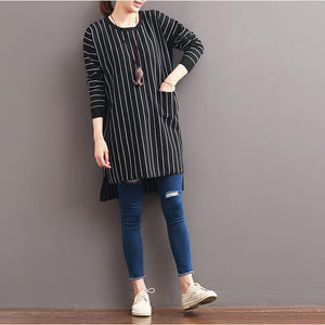 2017 spring black striped cotton dresses plus size dresses