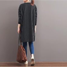 Laden Sie das Bild in den Galerie-Viewer, 2017 spring black striped cotton dresses plus size dresses