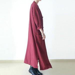 2017 spring burgundy linen caftans oversize cotton cardigans maxi dresses Chinese elements