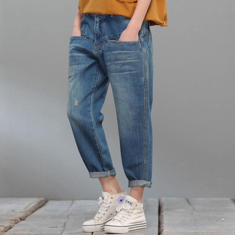2017 spring casual denim pants blue crop jeans woman