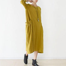 Load image into Gallery viewer, Vintage Fine yellow linen dresses cozy large pockets oversized