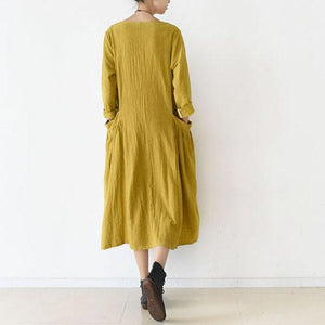 Vintage Fine yellow linen dresses cozy large pockets oversized