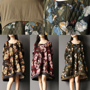 2017 spring floral baggy dresses oversize shirt in red