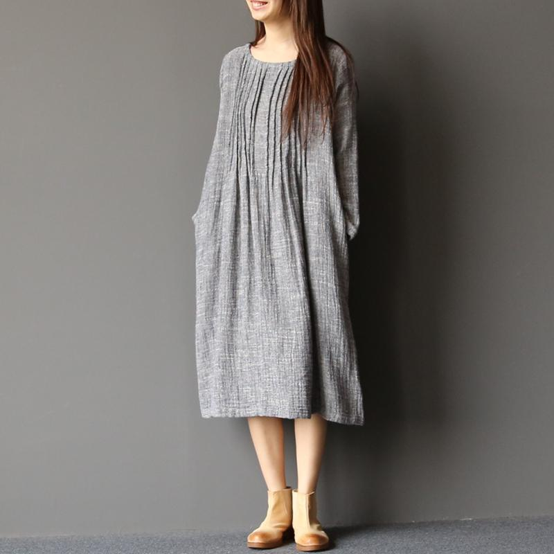 2017 spring light gray linen dresses plus size pleated cotton dress caftans
