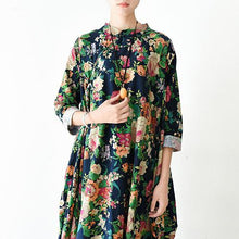 Laden Sie das Bild in den Galerie-Viewer, 2017 spring linen dress maxi navy floral cotton dresses