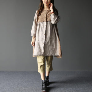2017 spring nude layered princess linen dresses causal sweet style