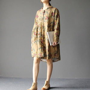 2017 spring oversize floral dresses causal linen shirts cotton blouses