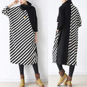 2017 spring side striped cotton dresses plus size long maxi dress caftans