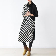 Laden Sie das Bild in den Galerie-Viewer, 2017 spring side striped cotton dresses plus size long maxi dress caftans