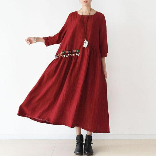 2017 spring sweet red linen dresses bells and flowers waist Asymmetrical design