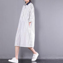 Laden Sie das Bild in den Galerie-Viewer, 2017 stylish sundress vertical strips plus size shift dress white half sleeve cotton shirt dresses