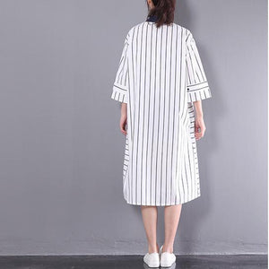 2017 stylish sundress vertical strips plus size shift dress white half sleeve cotton shirt dresses